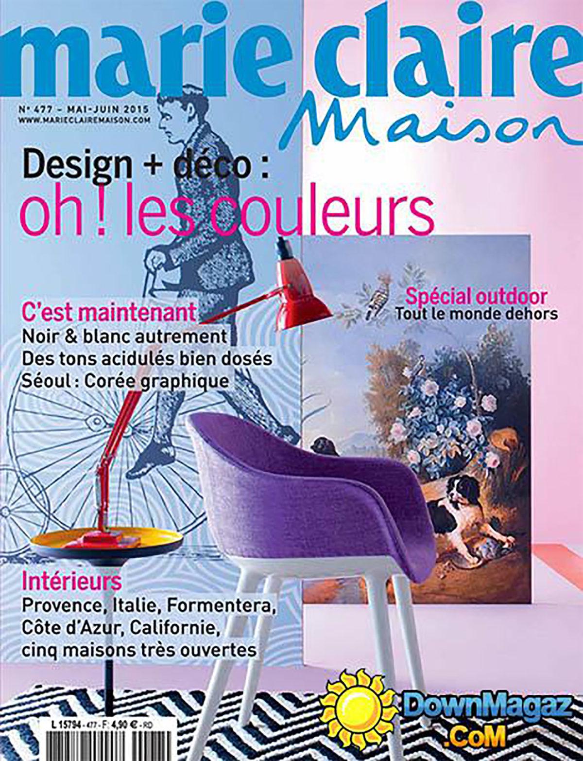 Parution presse MARIE CLAIRE 2015 Claude Cartier décoration architecte d'intérieur à Lyon.
