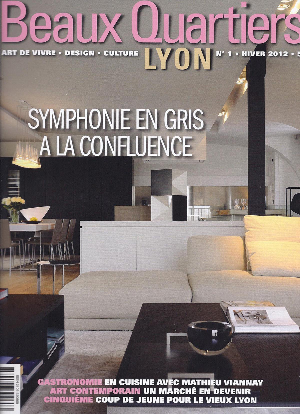 Parution presse BEAUX QUARTIERS 2012 Claude Cartier décoration architecte d'intérieur à Lyon.