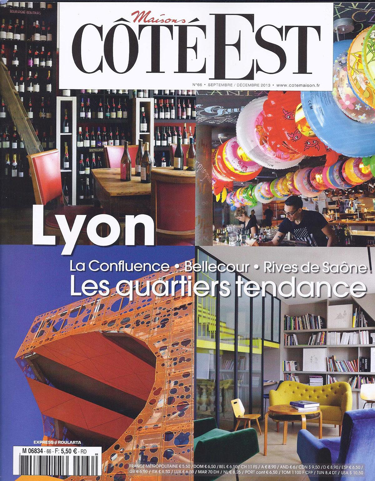 Parution presse COTE EST 2013 Claude Cartier décoration architecte d'intérieur à Lyon.
