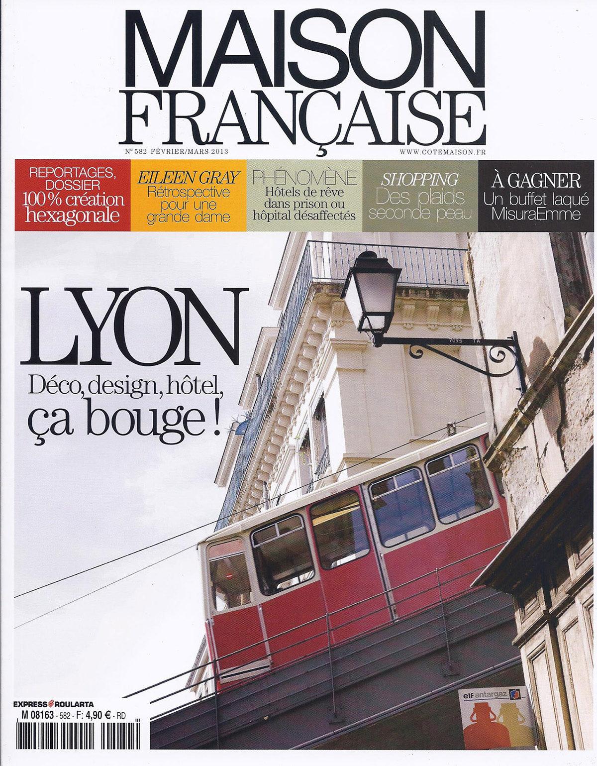 Parution presse MAISON FRANÇAISE 2013 Claude Cartier décoration architecte d'intérieur à Lyon.