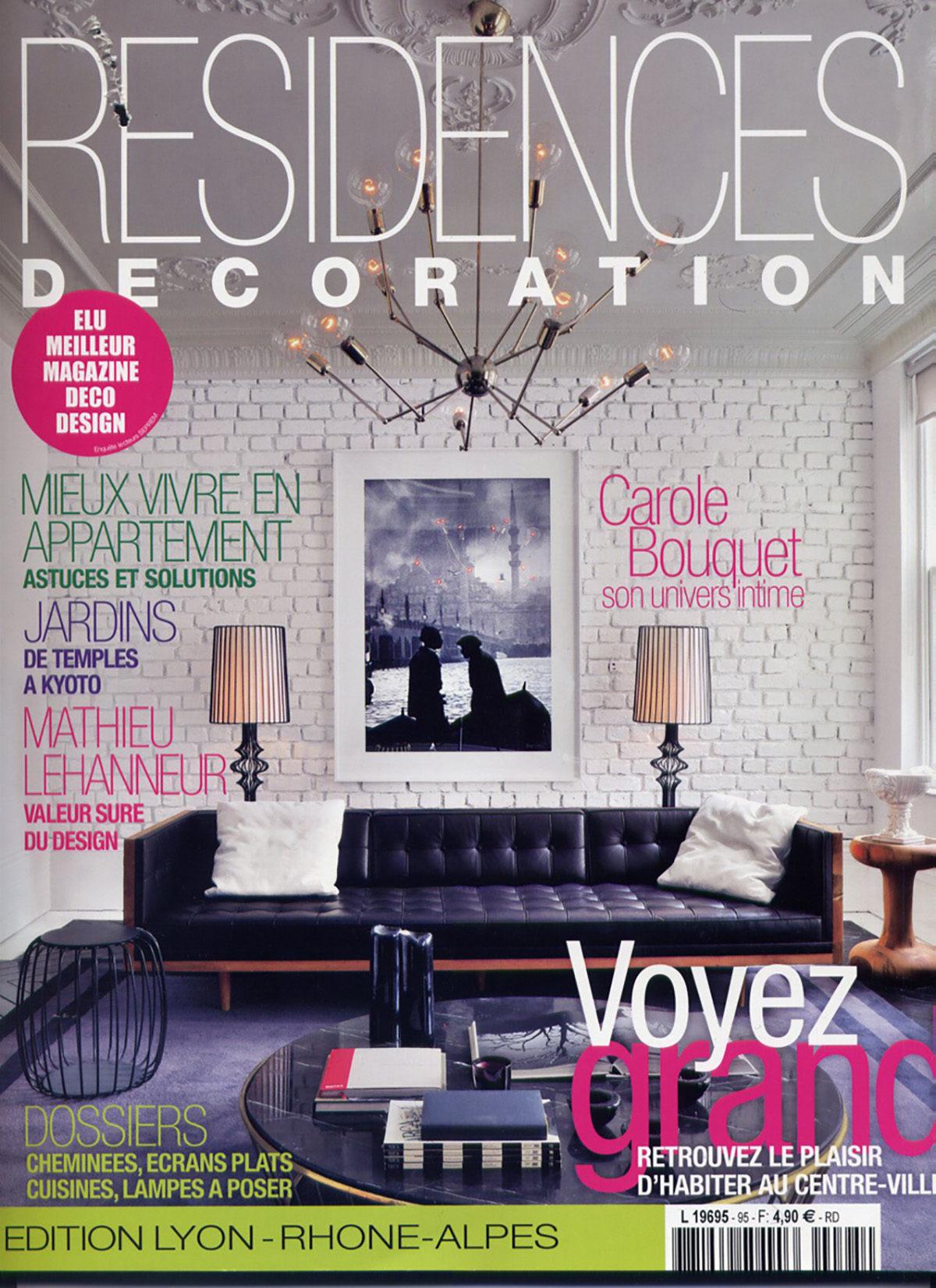 Parution presse résidences décoration 2011 Claude Cartier décoration architecte d'intérieur à Lyon.