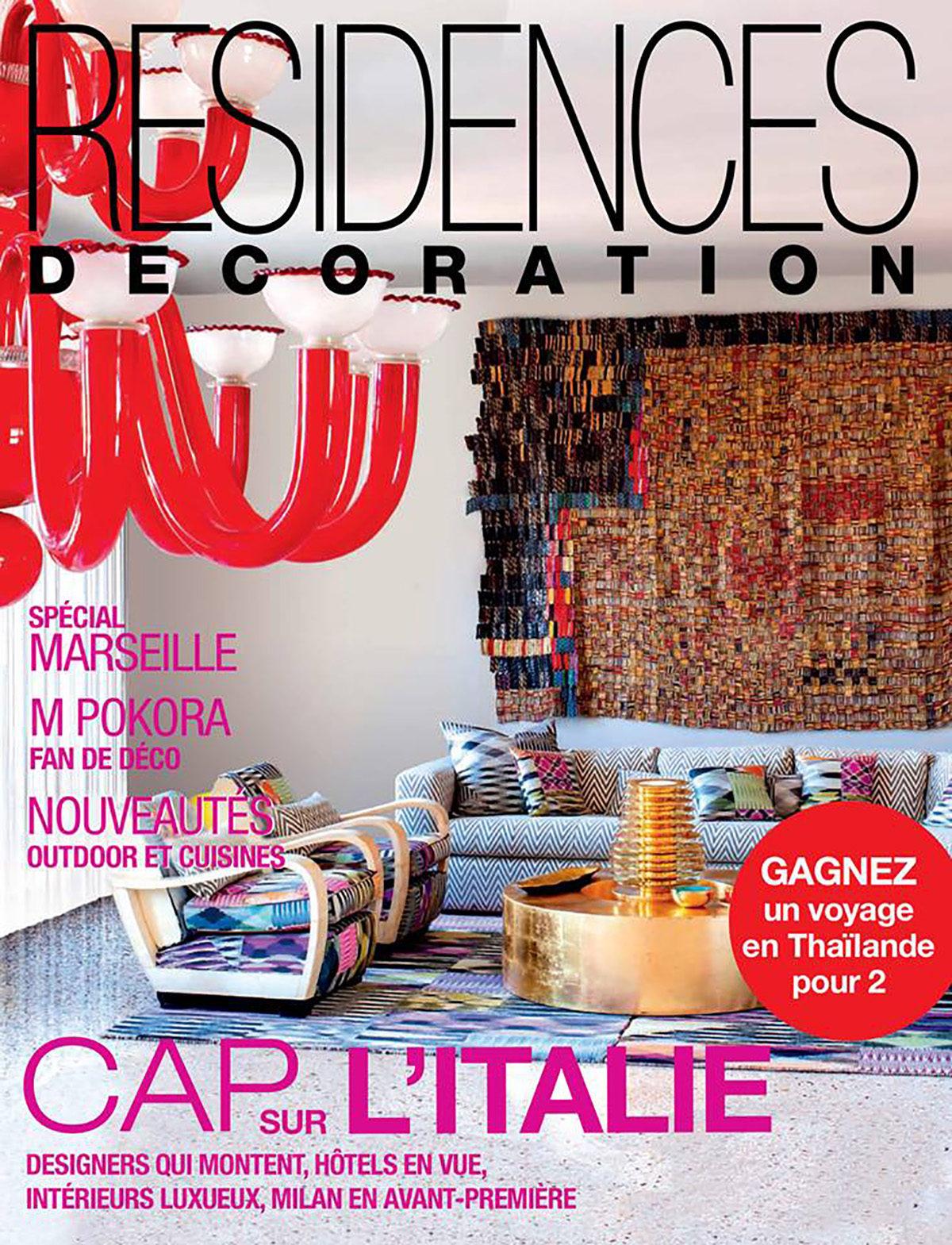 Parution presse RÉSIDENCES DÉCORATION 2015 Claude Cartier décoration architecte d'intérieur à Lyon.