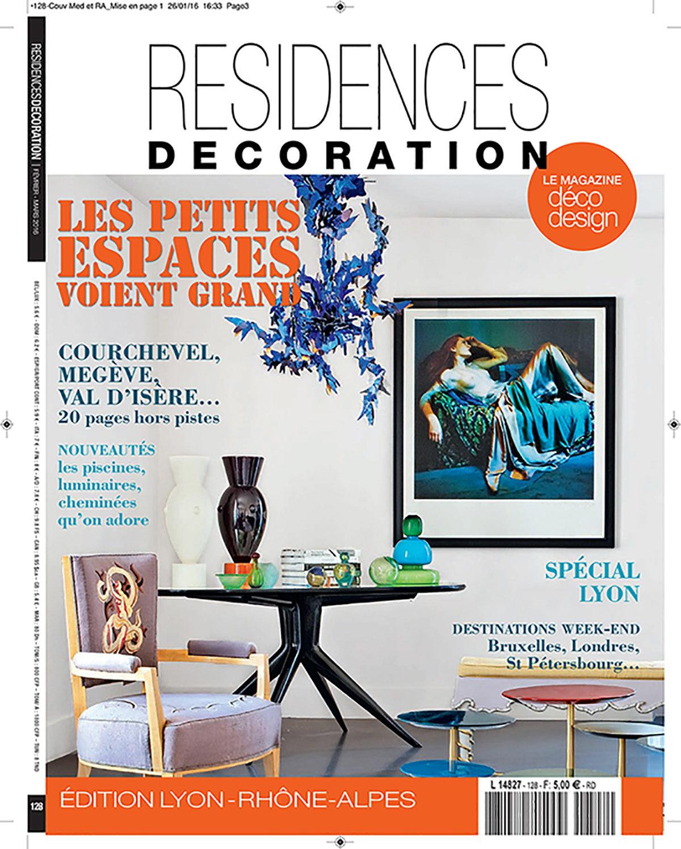Parution presse RÉSIDENCE DÉCORATION 2016 Claude Cartier décoration architecte d'intérieur à Lyon.