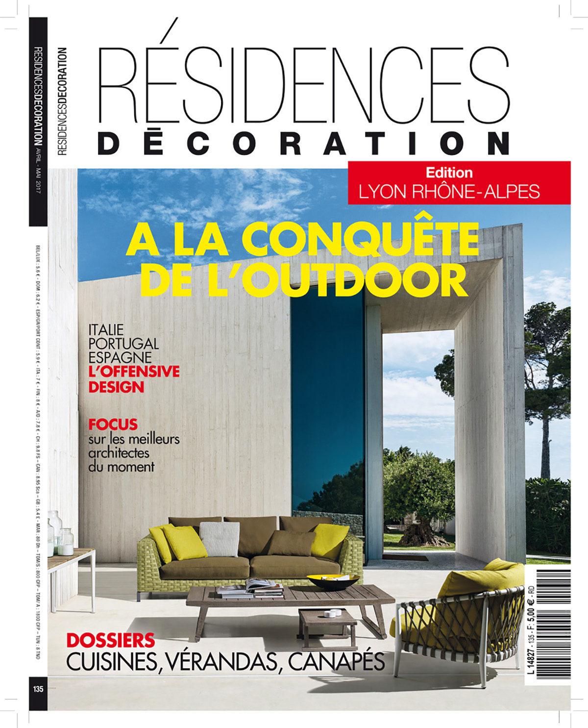 Parution presse Résidences Décoration 2017 Claude Cartier décoration architecte d'intérieur à Lyon.